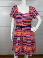 ModCloth Cycling in Seville Dress Pink Striped Belted Fit & Flare Women's Size L