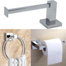 Moderno Cromato Quadrato Bagno Toilette Carta Velina Portarotolo & anello per asciugamani Set