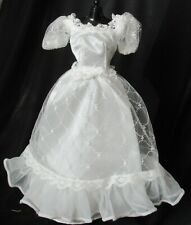 SuperStar Era Barbie White Wedding Gown Dress Lace Overlay Puff Sleeves #7965