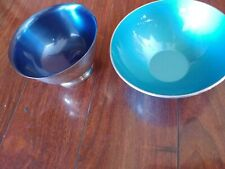 EMALOX NORWAY BLUE ALUMINUM BOWL WALLACE SILVER PLATED ENAMEL MID CENTURY MODERN