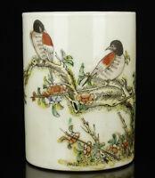 China Colored Drawing Handwork  Bird Porcelain Brush Pot Desktop Decora