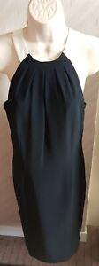 PRECIS Black Strappy Shift Dress Size 8 Petite
