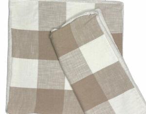 "Pottery Barn Bryce Buffalo Check Sherpa Back Pillow Covers Set 2 Neutral Tan 24"""