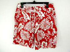 OP Men's Swim Trunks Size 32 Red White Floral