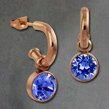 Pendientes de bisutería color principal azul de oro rosa