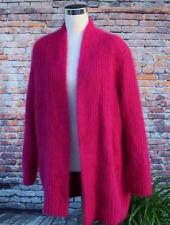 Venesha High Quality Angora Cardigan Sweater Coat (M/L) Dark Hot Pink Soft Fuzzy