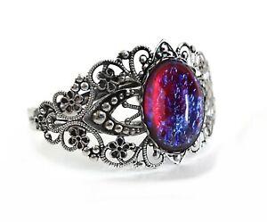 Czech Glass Stone Mexican Opal Dragons Breath Cuff Bracelet Silver, Rose Gold