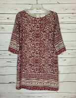 Skies are Blue Stitch Fix Women's Size S Small Burgundy Ivory Cute Spring Dress