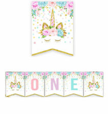 Unicorn Baby Shower One Birthday Party Bunting Banner Party Props Decoration