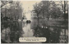 D.M. Bare Memorial Fountain and Spring in Roaring Spring PA Postcard 1939