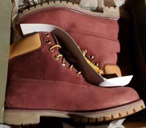 "Timberland 6"" Winter Burgundy Red Waterbuck Waterproof Winter Boots Mens NEW"
