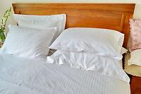 Double Bed Sheet Set Egyptian Cotton White Stripe 4 Pcs Commercial Quality