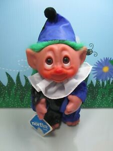 "1977 CLOWN  w/DAMAGED HAND TAG - 9"" Dam Troll Doll - New Store Stock"