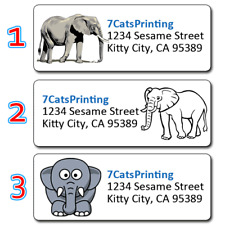 30 Personalized Return Address Labels Elephant Gray Adorable Baby Animal