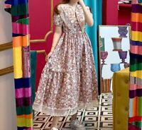 Ditsy Pink Floral White Lace Vtg Designer Inspired Dagger Collar Dress 10 12