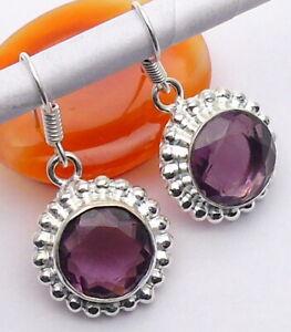 Amethyst Quartz Gemstone Jewellery EARRING Ethnic 925 Silver OVERLAY Hand Made