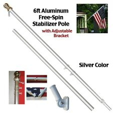 6ft Aluminum Spinning Stabilizer Flag Pole Silver Bracket Tangle Free (w/flag)