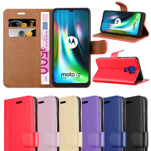 For Motorola Moto G9 Play case Leather Wallet Flip Stand View Card Slots Cover