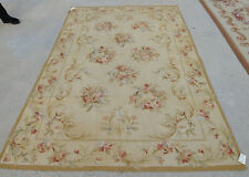 5' X 8' Vintage Aubusson Floral Hand-woven Rug Shabby Chic Rose Scroll Antique