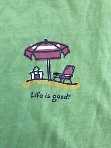 Life Is Good T Shirt Short Sleeve Cotton Crew Neck Beach Logo Womens 2XL Green