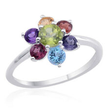 Sterling Sil Sz 8 Tgw 1.80 cts Nwt Flower Shaped Ring Numerous Gems Nickle Free