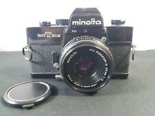 Minolta SRT 202 SLR Black Body 35mm Camera / Minolta MD Rokkor-X 45mm 1:2 Lens