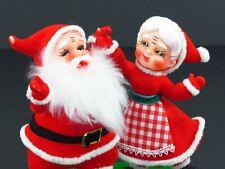 Vintage Santa Mrs Claus Flocked Christmas Figures Plastic Dancing Kurt Adler
