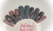 Handmade Custom Press On Nails Stick On Nails  Nude, Grey Coffin False Nails