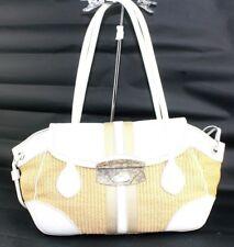 Authentic PRADA Brown PVC Mesh White Leather Flap Shoulder Bag Italy LN03705