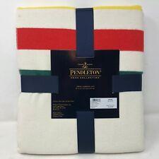 NIP Pendleton Glacier Stripe Ivory Multi Throw Blanket 50 x 70 Green Yellow Red