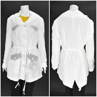 Womens Elisa Cavaletti White Nylon Trench Coat Jacket Collared Pocket Size XL