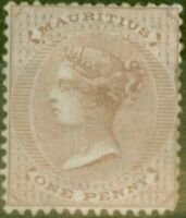 Mauritius 1863 1d Purple-Brown SG56 Good Mtd Mint