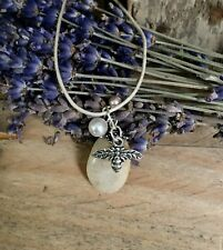 """Tibetan Silver Bee with Beach Pebble and Faux Pearls Pendant Necklace 18"""" (NEW)"""