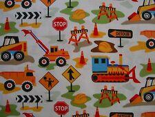Retro Dig It Construction Kids Childrens Boys Bulldozer Tractor Michael Miller