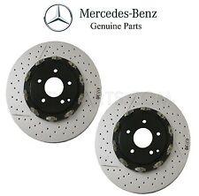 Mercedes R171 W209 Pair Set of 2 Disc Brake Rotors Vented Cross Drilled Slotted