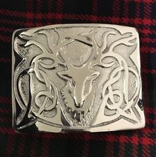 Men's Highland Kilt Belt Buckle Stag Chrome/Stag Head Buckle For Scottish Kilts