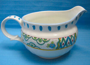 Creamer Pitcher Mikasa Ceramic Pottery Country Court DD006 Bright Design Blue