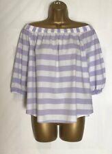 M&S Lilac White Striped Cotton Bardot Top Size 12   (mss-7)