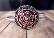 SNOW FLAKE RED METAL SNAP BUTTON ON ROPE SILVER BANGLE BRACELET JEWELRY