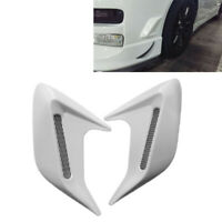 Pair of Car Decorative Air Scoop Flow Intake Hood Vent Bonnet Universal White