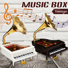 Mini Vintage Retro Music Box Piano Phonograph Gold Trumpet Horn Gift Hom