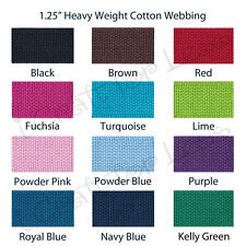 """10 Yards 1.25"""" Cotton Webbing for Key Fobs - 22 Colors"""
