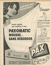 Publicité 1965  Lessive spéciale pour machine à laver le linge PAX OMATIC mousse