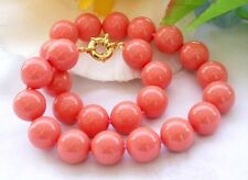 Natural 12mm South Sea Coral Pink Shell Pearl Round Gemstone Necklace 18'' AAA