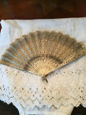 Antique Ladies Fan With Bone Sticks And Sequins