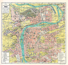 Prague and Suburbs Map from 1913 Vintage Print Poster (Broz Jozef/Neubert)