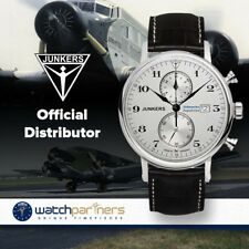 Junkers SOUTH AMERICA EXPEDITION Swiss Quartz 41mm Chrono watch Silv dial 6586-1