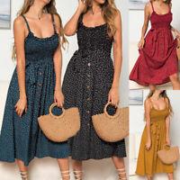 Womens Summer Midi Dress Buttons Swing Ruffles Ladies Polka Dot Tank Sundress
