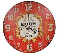 Riesige XXL Maxi Wanduhr - My most Favorite (rot) - d=58cm - Vintage Shabby Uhr