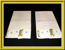 LOVELY PAIR OF EMBROIDERED & APPLIQUED VINTAGE PILLOWCASES